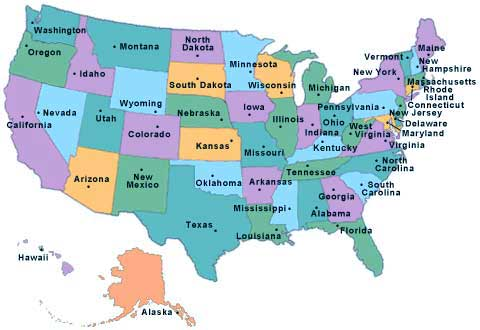 List of States in United States of America