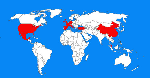 Map of Most Visited Countries