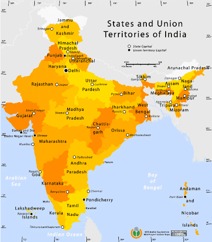 Union Territories Of India On Map List of Union Territories in India